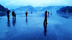 walking on the lake (my lala) Tags: bled lake slovenia slovenija frozen ice reflexion