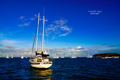 Safe Haven (mariola aga) Tags: puntacana dominicanrepublic atlanticocean ocean sailboats pier harbor haven light sunlight reflection clouds moon shoreline thegalaxy