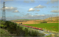 Passing Power Lines (Welsh Gold) Tags: 66161 4v32 margam onllwyn coal empties train dowlais valley