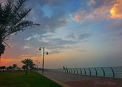 Ras Tanura (Ray of Peace) Tags: sunset sky seaview serene shadows seaside scene kirannasir photography peaceful peace canon colors clouds cloudy colorful skyscape beauty beautiful beach blue bluesky bluehour corniche fishing men tree pathway walkway path rastanura saudiarabia evening dusk postsunset nature relaxing relax picinc outdoor outside mobilephoto mobilphotography cellphoneshot