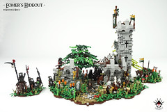 Lord Of The Rings: Eomer's Hideout -  by Barthezz Brick 1 (Barthezz Brick) Tags: lego castle fantasy lordoftherings medieval moc afol barthezzbrick lotr barthezz brick custom urukhai aragorn eomer hideout sword shield tree ruin spear flag bow rohan rohirrim