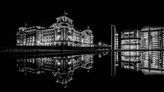 BERLIN reflection II (Klaus Mokosch) Tags: berlin reflection blackwhite schwarzweiss city urban architecture architektur spiegelung mono monochrome spree klausmokosch hdr reichstag governmentplace