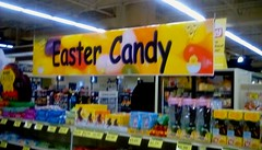Easter bunny supplies...? (Maenette1) Tags: easter candy store bunnies eggs chocolate jacksfreshmarket menominee uppermichigan signsunday flicker365