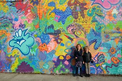 The Kids And The Colorful Mural (Joe Shlabotnik) Tags: brooklyn graffiti violet 2017 bushwick april2017 mural everett afsdxvrzoomnikkor18105mmf3556ged faved