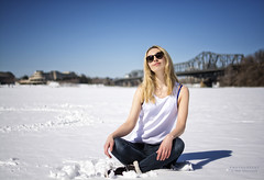 Portrait: Sunbathing. Canadian Style (Oleh Khavroniuk (Khavronyuk)) Tags: canada candid beach ontario ottawa river winter hiver girl model beauty pretty lovely beleza woman sun sunny light outdoor nikon nikkor springtime world holiday morning 365 natural white blue snow art street city streetphotography streetportrait streetphoto streetart sensual glasses hair photo geotagged flickr flickrfriday retrato