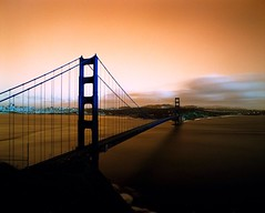 San Francisco Golden Hour 1:3 (Angela Holm) Tags: zaahphoto angelaholmphotography urbanlandscape 120film lomochrome marinheadlands goldengatebridge pentax6x7 sanfrancisco