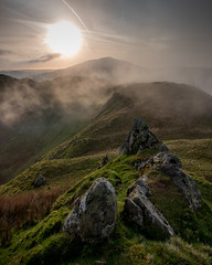 Sunrise on the Horns (Tim Allott) Tags: pentaxk3 northwales landscapephotography cloud mist hills rocks mountain sunrise moelsiabod hornsofsnowdon snowdonia april 2017