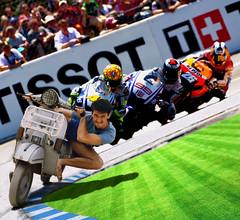 Vespa takes the Lead !!! (gtsimis) Tags: sports vespa bikes racing motogp 100asa fujicolor motorace
