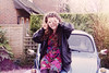 first car (Joelle Poulos) Tags: old portrait silly colour film girl car vw photo peace minolta beetle goodbye