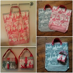 Fabric grocery bags from 1 yard of linen fabric (ebygomm) Tags: