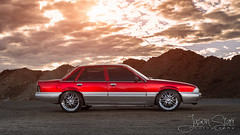 EH1210 - Quarry - Side (Flare) (jasoncstarr) Tags: sunset red verde cars canon flash sigma turbo chrome flare commodore rims quarry lowered intercooler holden turbocharged vl 2470mm candyapplered 70d 430exii canoneos70d hoonigan sigma2470mmexdgmacrolens
