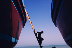 (pipeclayed (adam)) Tags: ocean sea silhouette boat ship gulf iran persia dhow persiangulf shipbuilding qeshm bandarabbas qeshmisland fujix100s x100s