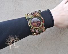 Whispering Wood bracelet_6 (~Gilven~) Tags: beads bracelet bead pearl swarovski beading garnet beadembroidery gameofthrones naturalleather piryte annachernykh jewelryfindingsbyannachernykh