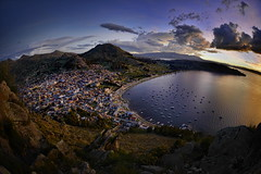 Titicaca Sunset (Greg - AdventuresofaGoodMan.com) Tags: city laketiticaca titicaca nature lago town pueblo bolivia fisheye copacabana bluehour lagotiticaca greggoodman