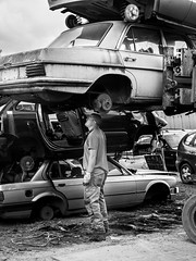 Inspection (OskarN) Tags: bw photoshoot junkyard