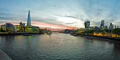View from Tower Bridge (Tomabalazs) Tags: city uk bridge england panorama london tower thames river dusk shard gherkin