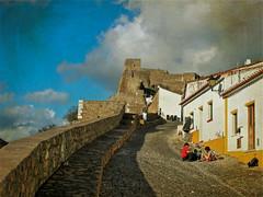 Mertola Castle Wall (Jocelyn777) Tags: castles portugal clouds citywalls monuments alentejo textured mertola historictowns moorishcastles wallsandfortifications