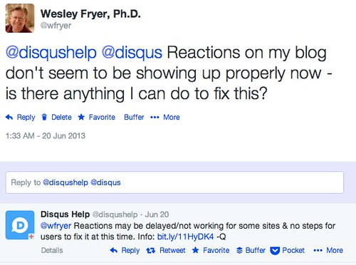 Disqus Reactions Discontinued by Wesley Fryer, on Flickr