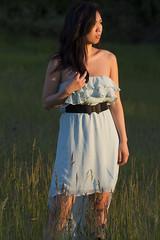 Thao (austinspace) Tags: sunset portrait woman church field dress dusk dust grounds magichour