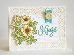Hugs (Torico27) Tags: pink white flower green leaves yellow cards leaf die handmade turquoise teal background card button ribbon heroarts pennyblack coverup copics diecut