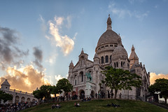 Sacre-Coeur at Sunset - Paris (CanvasOfLight) Tags: travel light sunset paris france tourism church monument clouds golden evening warm europe glow cathedral daniel basilica hill religion montmartre coeur tourist canvas dome sacred 2014 nahabedian jheart scacre canvasoflight sacr