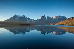 Torres del Paine : Mirror (baddoguy) Tags: chile travel sunset cloud fog mirror nationalpark images getty destination torresdelpaine clearing