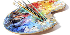 Artist's Palette With Brushes (tonyhenjel) Tags: blue red orange white abstract green art colors yellow mix paint artist close purple artistic top perspective style stroke hobby used painter brushes muddy lay palette dingy ergonomic dubed