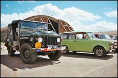 East Meets West at Upper Heyford (tatrakoda) Tags: auto old uk england classic film car 35m