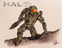 Halo Master Chief Fan Art (BRICKSmovies) Tags: school orange green art 1 fan 5 chief 4 halo battle master videogame reach epic masterchief spartan jhon
