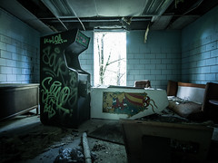 P1012976 (ArchitecturalAfterlife) Tags: urban green abandoned hospital dark weird insane scary rust time beds decay destruction eerie creepy equipment xray exploration dentist asylum derelict urbex johnnyjoophotography