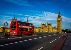 Bus on Westminster Bridge (Warren Brendan McCann) Tags: morning bus london westminster canon bigben westminsterbridge londonbus canong1x