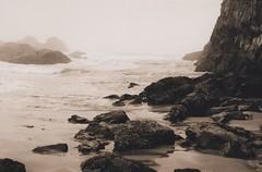 Seal Rock 30, 2014 (Sara J. Lynch) Tags: ocean park sea white black lynch film beach water rock oregon 35mm lava j coast sand rocks sara waves state pacific northwest asahi pentax k1000 rocky newport seal volcanic basalt