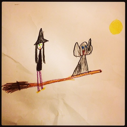 365/189 • witch and cat • #2014_ig_189 #6yo #drawing #art #magic #witch