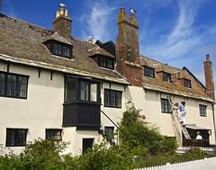 HouseWork (Hodd1350) Tags: windows roof christchurch men clouds workmen gulls sony bluesky quay dorset males ladder shrubs painters chimneys mudeford a77 picketfence tamronlens