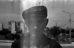 Blind man (Kate Nester) Tags: portrait people blackandwhite man film 35mm blackwhite blind