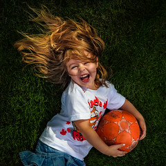 joy (JimfromCanada) Tags: child girl play keep grass laugh fun happy smile golden hair soccer summer lawn cute sweet young niece family game canadaday canada ball orange
