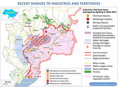 Recent damage to industries and territories (Zoi Environment Network) Tags: maps geography easterneurope europe ukraine war eastern donbass tension sitution impact map border blockade blocked factory industry closed threatened influence metallurgy chemical power electricity mine coal water supply separatist river lake forest plant fighting flood shortage nature reserve