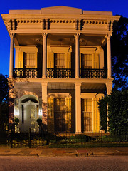 2936 Chestnut St., New Orleans (Elliott Cowand) Tags: nola neworleans city old louisiana usa america gardendistrict house home building mansion southernliving outdoor outside architecture night elliottcowand 2016 window door steps balcony southernculture southernexposure thesouth southerncharm shutters twilight 2010 sony wroughtiron wroughtironbalcony thebluehour dsch20 ngc dwwg elliottcowandyahoocom sky blue yellow light