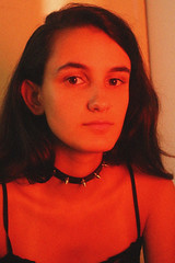 (gfbialoglowka) Tags: canon canont5i digital light lightning red orange redlight orangelight girl spikes spikechoker choker indoors self selfportrait portrait