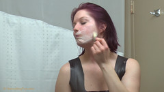 katsurth_faceshave_in_rubberdress_2 (kat_surth) Tags: faceshave faceshaving face shave rubber dress katsurth surth lathershave lather straightedgerazor razor straightedge bathroom hotel