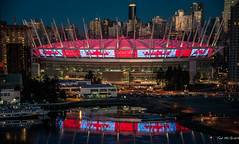 2017 - Vancouver - BC Place Stadium (Ted's photos - Returns Mid May) Tags: 2017 bc bcplace cropped nikon nikond750 nikonfx tedmcgrath tedsphotos vancouver vancouverbc vancouvercity vignetting stadium bcplacestadium red redrule reflection waterreflection nightscene nightlighting cans2s sevensrugby