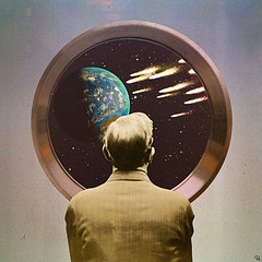mcd (woodcum) Tags: man watch watcher space globe earth asteroids meteor comet shower porthole end collage surreal scifi vintage retro woodcum spaceship planet stars