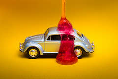 Glazed my Car (HMM) (matthiasstiefel) Tags: beetle glaze macro macromondays popart car red yellow slime rot gelb vw käfer