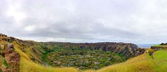Village Views (Rice Bear) Tags: chile easterisland ranokau crater pano panorama volcano isladepascua regióndevalparaíso cl pacific rocks grass sky storm clouds rapanui extinct landscape travel travelgram sony a7r2 alpha sel35f28