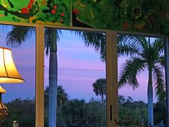 Appreciating the Sunset Outside (soniaadammurray - On & Off) Tags: iphone sunset sky clouds trees window painting doors light exterior interior quartasunset 2017