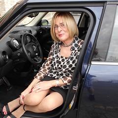 In a Mini in my mini - thanks to Alisha for a wonderful day on Long Island! (Joan Perkins) Tags: tg tgirl transgender crossdresser miniskirt blonde