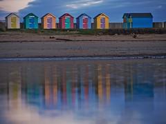 Beach Hut Reflections (Amble180) Tags: beachhuts lumix 45200 olympus wildaboutnorthumberland harbour