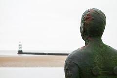 No Man is an Island (marktmcn) Tags: crosby beach liverpool bay iron man sculpture standing figure another place sculptor antony gormley looking seaward towards sea pensive encrusted tower sandbank sand coast coastal tidal dsc rx100