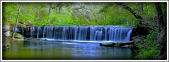 Anderson Falls Vista (J Michael Hamon) Tags: andersonfalls bartholomewcounty indiana water waterscape waterfall creek stream cliftycreek vignette photoborder widescreen panorama hamon nikon d3200 sigma 1020mm nd neutraldensity filter longexposure nature landscape spring wideangle flickrelite