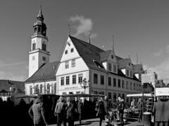 Saturday is market in Celle. (Wallus2010) Tags: bw sw blakwhite celle market wochenmarkt altstadt nikon p900 anseladams architektur perspektive shift shifting